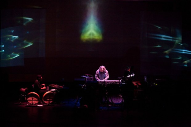 Byron Metcalf & Steve Roach onstage at SoundQuest Fest 2010