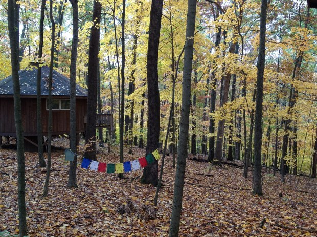 Yurt and prayer flags in the woods at TMBCC