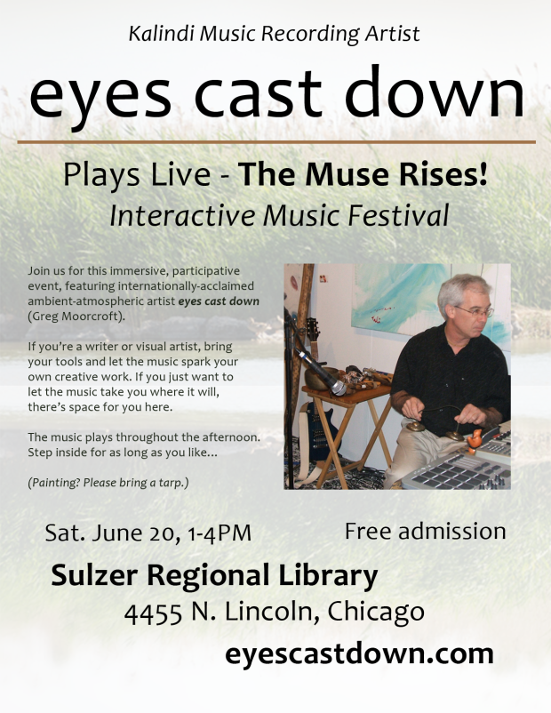 Concert Flyer - eyes cast down, June 20, 2015